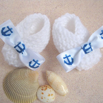 Nautical Theme Baby Booties, White Newborn Baby Booties with Navy and White Anchor Ribbon, Nautical Theme Baby Shower, Nautical Decor
