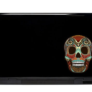 Ornate Skull Vinyl Laptop or Automotive Art FREE SHIPPING detailed notebook sticker netbook stickers dead computer Yeti laptop decal art