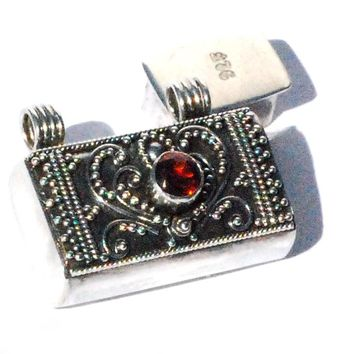 Sterling Silver Bali handmade facet garnet prayer box pendant