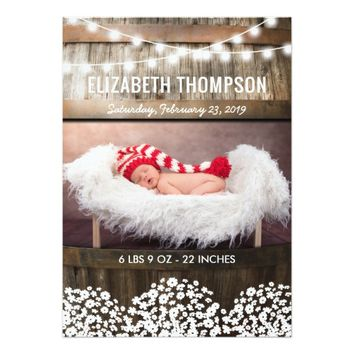 Sweet Rustic Country Baby Birth Announcement