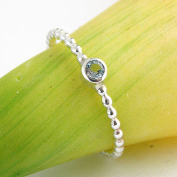 Dainty Beaded Birthstone Ring - ONE stackable birthstone ring, sterling silver ring, birthstone ring, simple ring, dainty ring