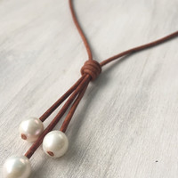 Freshwater pearl tassel necklace, leather and pearls, pearls on leather, freshwater pearl necklace,pearl jewelry