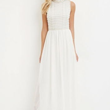 Contemporary Beaded Chiffon Maxi Dress