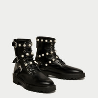 LEATHER ANKLE BOOTS WITH FAUX PEARLS DETAILS