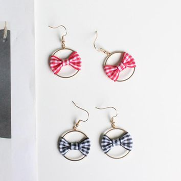 2018 Simple Sweet Cute Small Plaid Fabric Bow Geometric Round Circle Drop Earrings for Women Girls Handmade Party Jewelry