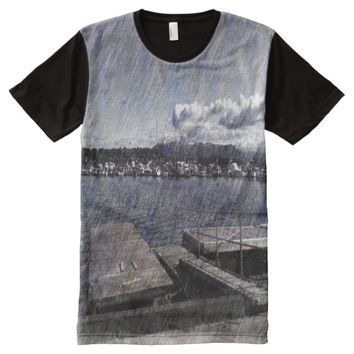Leirvik harbor with boat All-Over-Print T-Shirt