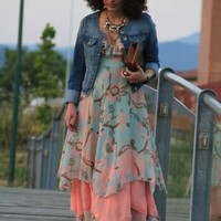 Bohemia Light-green Floral Spaghetti Strap Chiffon Dress - Sheinside.com