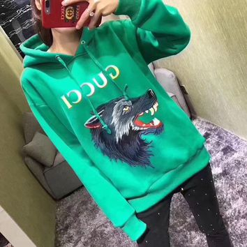 """Gucci"" Casual Fashion Letter Print Wolf Head Pattern Embroidery Long Sleeve Hooded Sweater Women Hoodie Tops"