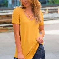 Criss Cross Top- Mustard