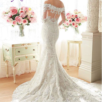 Liyuke Elegant Embroidery Tulle Sweetheart Neckline Mermaid Wedding Dress Beaded Appliqued Off The Shoulder Trumpet Bridal Dress