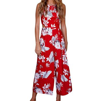 Sleeveless Floral Print Jumpsuit Casual Clubwear Wide Leg Pants