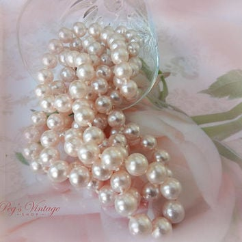 Vintage Pastel Light Pink Pearl Necklace, Pink Faux Pearl Bead Long Necklace, Wedding, Bridal Jewelry