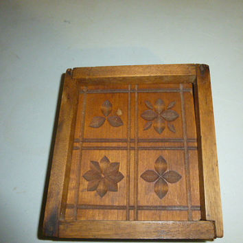 Vintage Wood Wooden Butter Block Mold Country Kitchen Decor Rustic