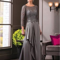 [128.99] Stunning Satin Chiffon & Lace Bateau Neckline A-line Mother of The Bride Dresses With Beadings - dressilyme.com
