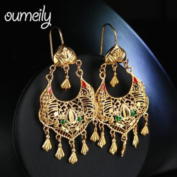 Drop Earrings Green Red Ethnic Wedding For Bridal Dubai Indian Gold Color Tassel Ethiopian Fashion Earring Jewelry Accessories
