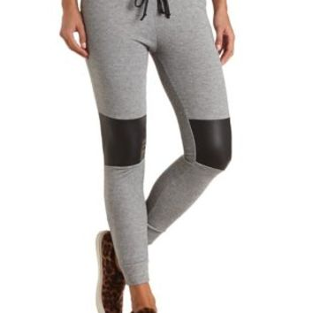 Faux Leather Knee Patch Sweatpants by Charlotte Russe - Black Combo