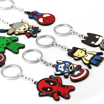 Batman Dark Knight gift Christmas Zoeber Cartoon SpiderMan Keychain Women batMan Deadpool Cute Avengers Alloy Keychain KeyRing Chaveiro Car Key Chain AT_71_6