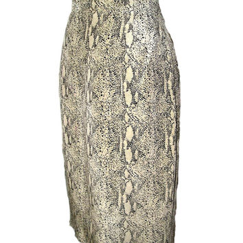 Luxury Vintage SNAKESKIN Print High Waist Pure SILK Beige Black Pencil Skirt 10-12