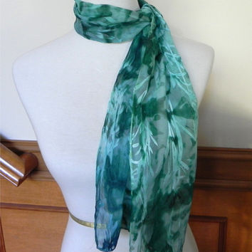 Long silk scarf hand painted shades of blue and green, Devore satin silk scarf #363, ready to ship