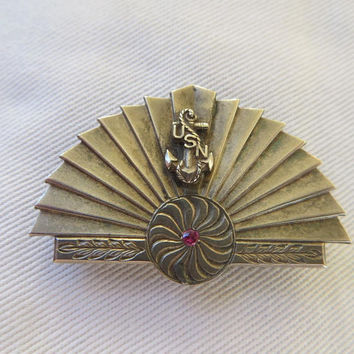 US Navy Brooch, WWII Navy Pin, Sterling Military Brooch, Vintage Military Jewelry, US Navy Jewelry, Navy Wife, Navy Mom