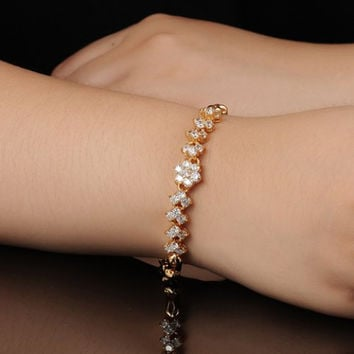 Delicate Gold and Cubic Zirconia Flower Bracelet, Bridal and Bridesmaids Gifts for Her