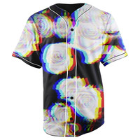 Blurred Roses Black & White Button Up Baseball Jersey