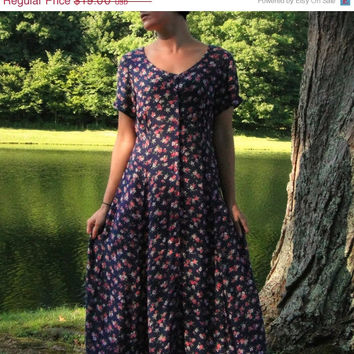 20% OFF SALE 90's Navy Blue Babydoll Maxi Dress. Semi Sheer. Button Up. Floral. Short Sleeves. Boho. Small Medium