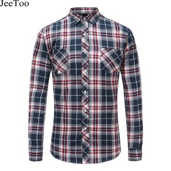 JeeToo Autumn Arrival Men Plaid Shirts Long Sleeve Flannel Mens Shirt Casual Checked Male Brand Clothing Plus Size 5XL Men Shirt
