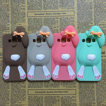 NEW 3D Cartoon Bunny Back Cover Case For Samsung Galaxy J3 2015 J300 & J3 2016 J320 Rabbit Silicon Gell Phone Shell