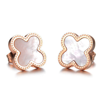 Rose Gold Clover Stud Earrings