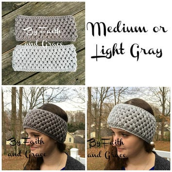 Ear Warmer - Crochet Ear Warmer - Gray Ear Warmer - Crochet Headband - Women's Accessories - Stocking Stuffers - Gifts For Her