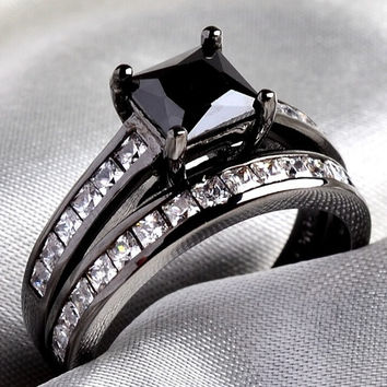 Bridal Sets 10KT Black Gold Filled Princess cut 1CT Black Sapphire Clear CZ Women's Wedding Ring 2 in 1 Band SZ 5-10 = 1929688900
