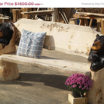 Rustic Bench - log furniture, Chainsaw Carved Bear Bench, chainsaw carving, wood carving, carved bench, slab, cabin decor, cabin furniture
