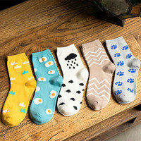 2015 New Fashion Women Kawaii Cartoon Long Socks Korean Funny Egg Pug Cloud Patterned Socks Cute Colorful Pure Cotton Sock