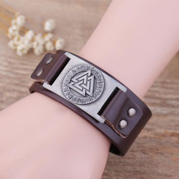 Odin 24 Norse Runes Slavic Tailsman Warrior Amulet Ethnic Viking Wristband Cuff Adjustable Vintage Leather Bracelet