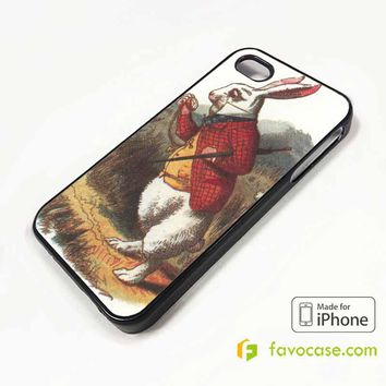 WHITE RABBIT IN ALICE IN WONDERLAND iPhone 4/4S 5/5S/SE 5C 6/6S 7 8 Plus X Case Cover