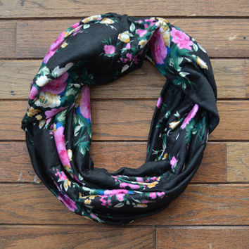 Floral Infinity Scarf, Black Pink Scarf, Women's Scarf, Floral Jersey Scarf, Circle Scarf, Black Floral Scarf, Floral Snood, Floral Cowl