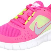Nike Free Run 3 (GS) Big Kids Running Shoes Spark/Reflective Silver-White-Volt 512098-600, 5