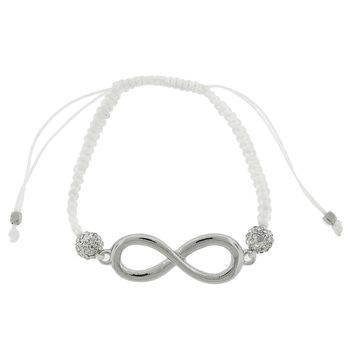 2 White Crystal on Cord Adjustable Bracelet with Infinity Sign