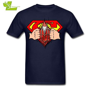 Superman Is Spiderman Man T Shirt Leisure Classic Loose T-Shirt Boy Summer O Neck Tees Teenage Latest Unique Clothing