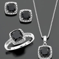 Sterling Silver Three Piece Set, Onyx and Diamond Accent Ring, Pendant, and Earrings - Gemstones - Jewelry & Watches - Macy's