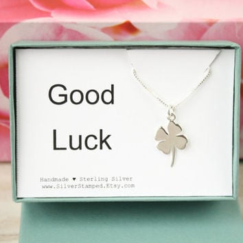 Good luck charm gift in a box, Shamrock charm necklace, all Sterling Silver lucky four leaf clover, Irish Gaelic boxed gift for her