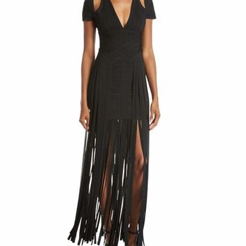 Adele Black Cold Shoulder Fringe Bandage Dress