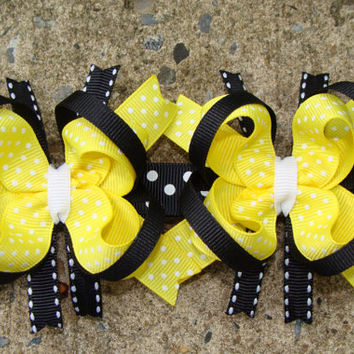 Bumble Bee Hair Bow Mini boutique Hair Bow TWO by MyLuckyHairBow