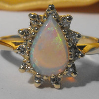 GORGEOUS! Natural Fiery Opal & Diamond 14k Gold Ring