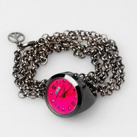 La Mer Gun Metal Ring Watch - Gun Metal / Hot Pink - Punk.com