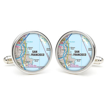 San Francisco city map  cufflinks , wedding gift ideas for groom,gift for dad,great gift ideas for men,groomsmen cufflinks,