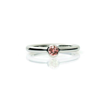 Imperial topaz solitaire engagement ring, white gold, bezel, pink topaz ring, unique engagement, simple ring, anniversary ring, yellow gold