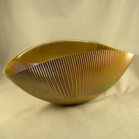 Centerpiece Bowl Signed Yalos Casa Murano Italy Glass Marigold Iridescent Shell Shape Vertical Ribbed