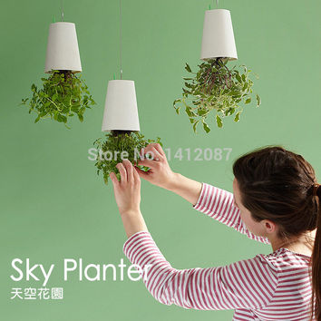Upside Down Plastic Sky Planter Creative Plant Flower Garden Pot